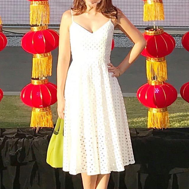 KOOKAI white Eyelet Summer Raceday Dress
