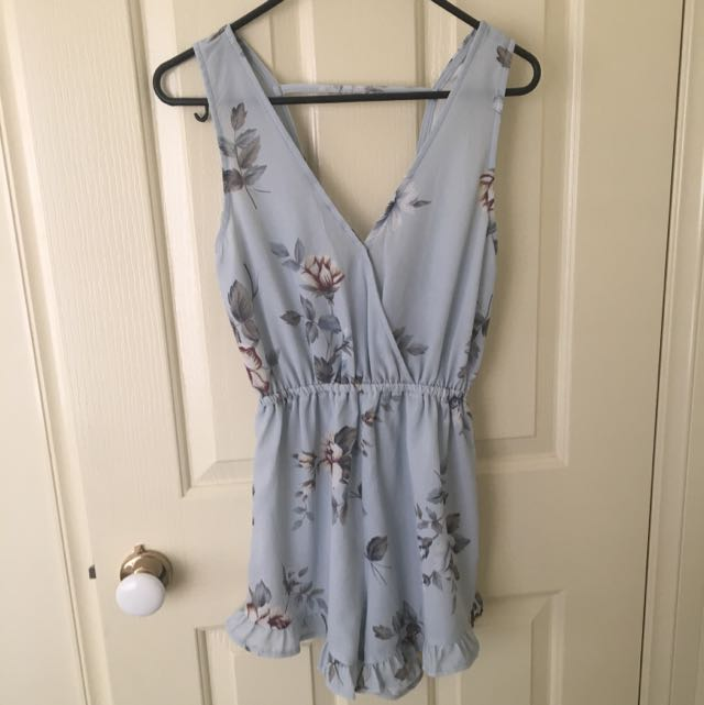 Light Blue Floral Playsuit
