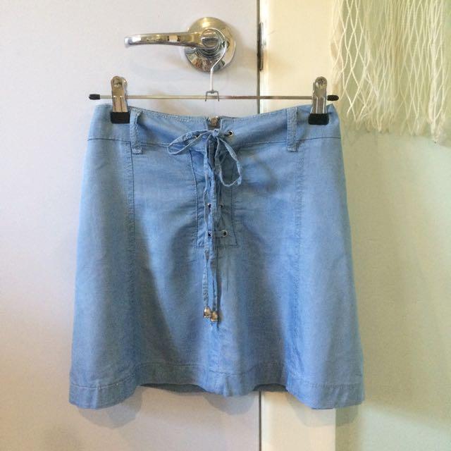Light Weight Faux Denim Skirt