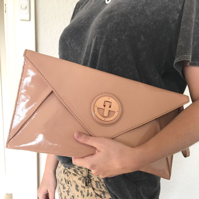 Mimco Envelope Clutch In Salmon
