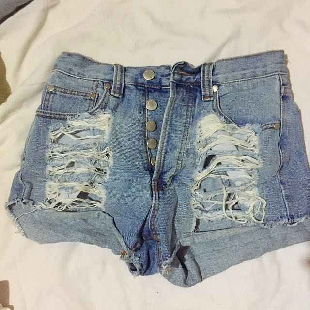 Mink Pink Denim Shorts Ripped Look