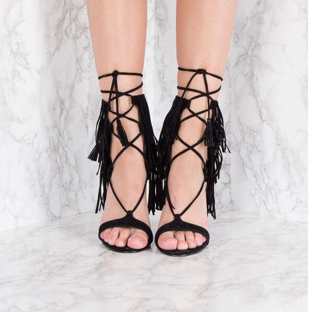 NAKD Black Faux Fringes Layer Strap Heels