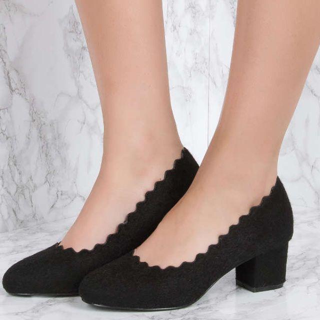 NAKD Black Hairy Scalloped Edge High Heel
