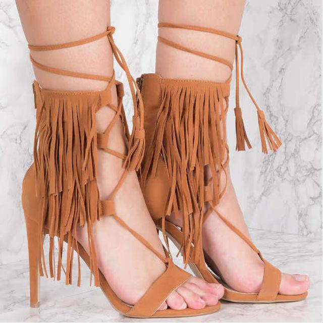 NAKD Brown Fringes Layer Strap Heels