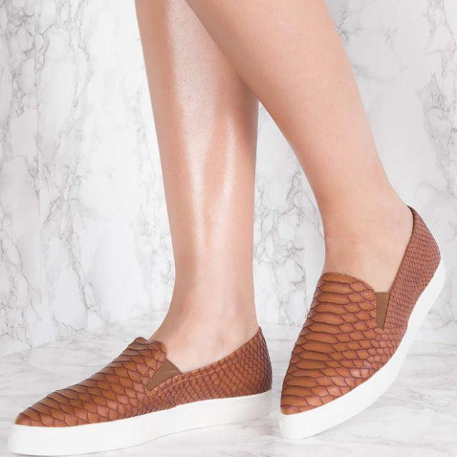 NAKD Brown Snakeskin Slip on Shoes