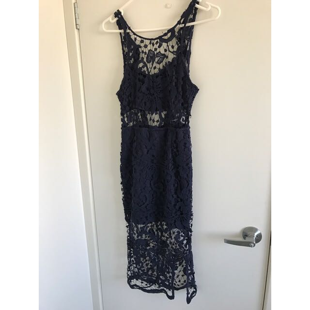 Navy Lace Detailed Dress
