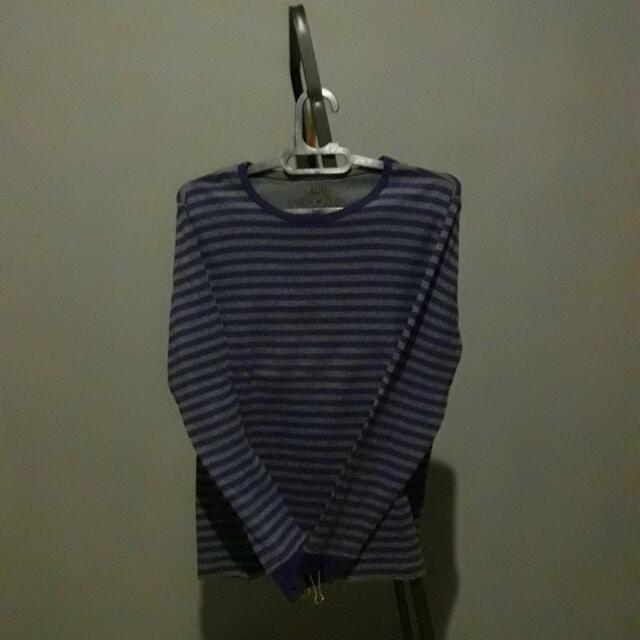 (Ori) Bossini Purple-Gray Striped Longsleeve Sweat-Tshirt