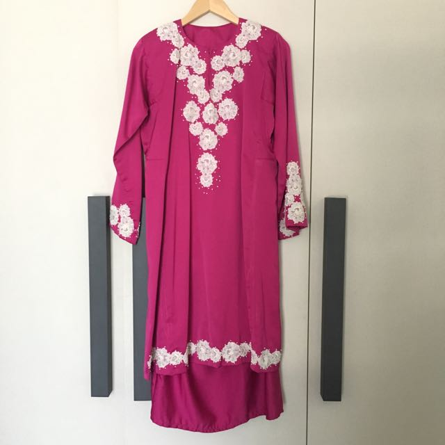 Pink Kurung With Lace