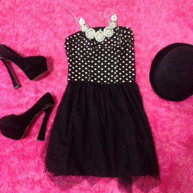 polka tube dress