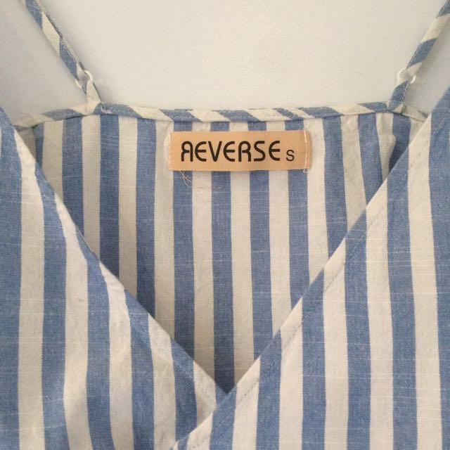 'Reverse' Blue And White Wrap Dress