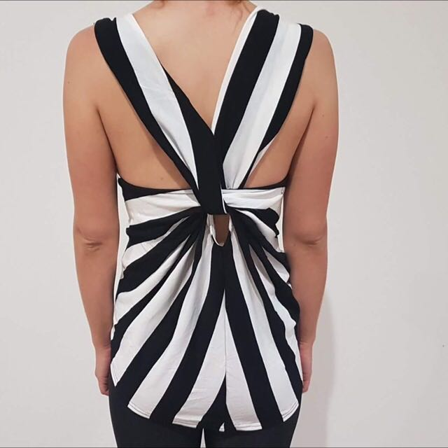 Striped Top- Twisted Back
