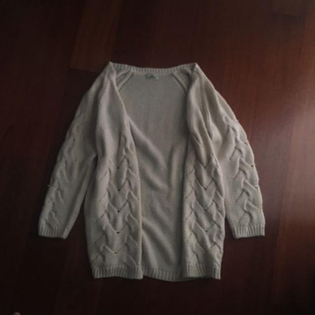 STUSSY white Knit Cardigan
