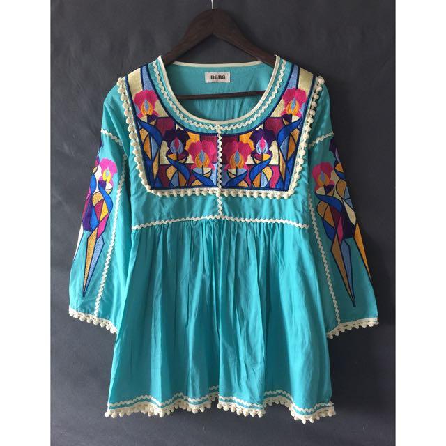 Turquoise Embroidered Peasant Top/ Boho/bohemian