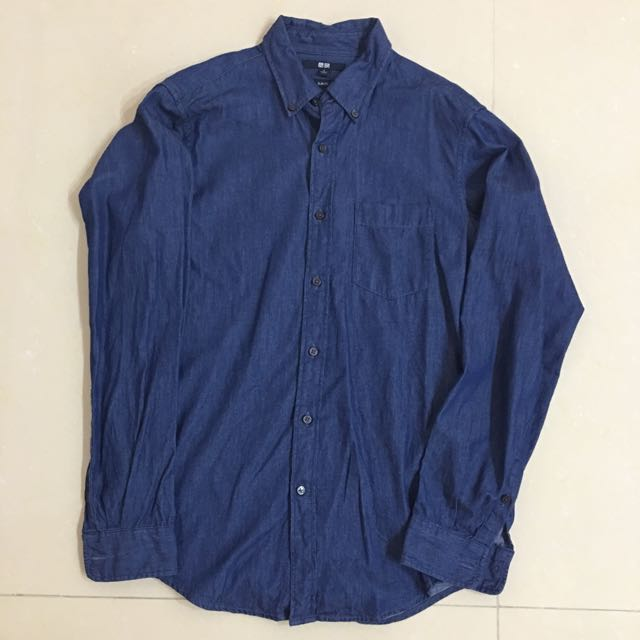 男款✨UNIQLO丹寧深藍襯衫