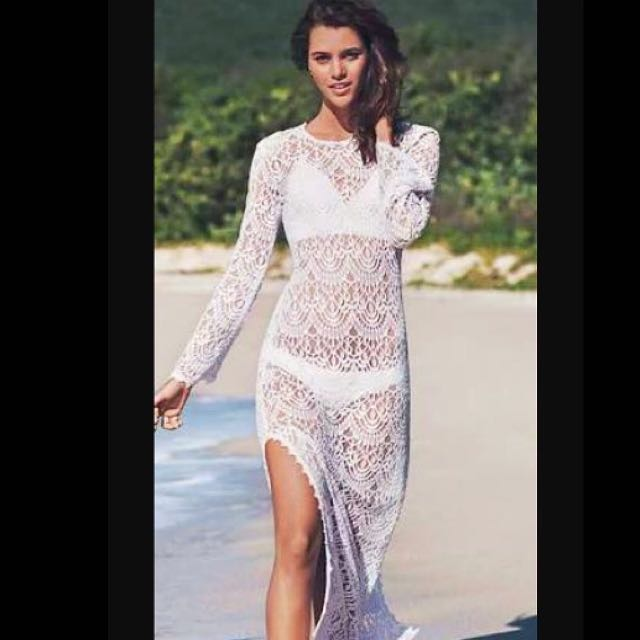 White Lace Beach Long Dress H&M