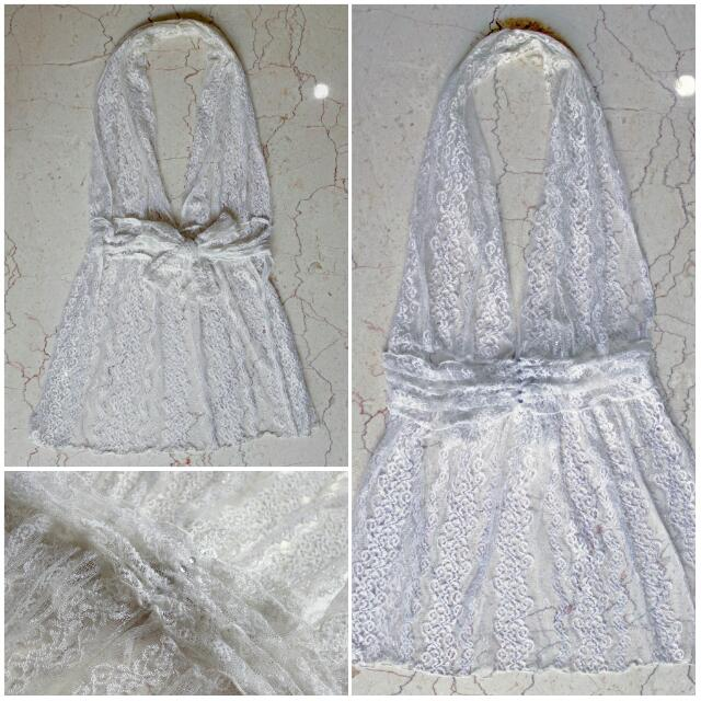 White Lace Halter Neck Outter