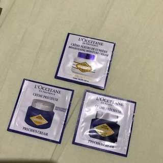 L'occitane Face Cream Samples (Crème Fleurs De Lumiere & 2 Crème Précieuse ) PRICE EXCLUDE ONGKIR