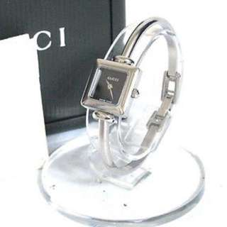 Authentic GUCCI 1900L Ladies Quartz Watch Black Dial Stainless Steel Swiss Made + Box
