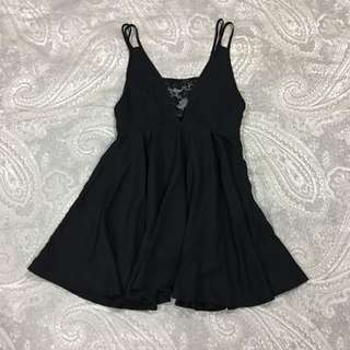 Premium Black Insert Front Lace Bare Back Summer Cocktail Sexy Valentine's Dress