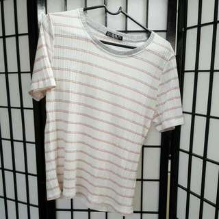 T-shirt With Pink & Grey Stripes