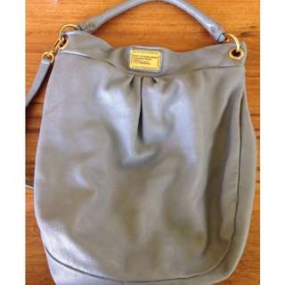 100% Authentic 'Marc by Marc Jacobs' Classic Q Huge Hillier Hobo Grey Leather Handbag