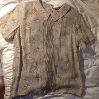 Floral collared shirt (Topshop - size 12)