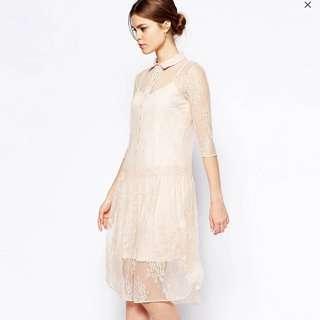 ASOS Nude Lace Midi Dress Size 12