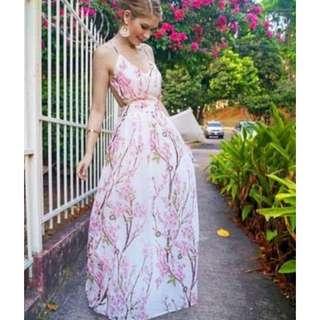 Cherry Blossom Maxi Dress Strappy Back