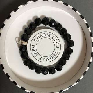 Genuine Thomas Sabo silver 925 black obsidian charm carrier bracelet 16cm