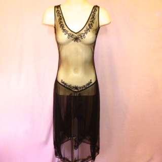 David Lawrence Dress Black Sheer Net Beaded size 8 Bust 91cm Waist 71cm Hips 98 near new