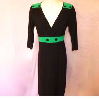 LEONA EDMISTON Dress Black & Green size 2 AUS 14 Bust 102cm waist 80cm hips 107