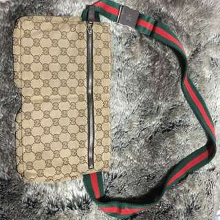 GUCCI fanny Purse With Leather Detail