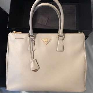 Prada Saffiano Double Zip Bag - Large - Grey