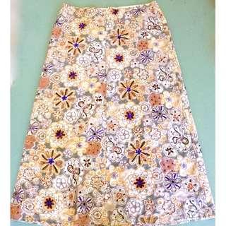ZAMBESI Skirt NZ Designer Silk Embroidered & sequence Floral A line size 10