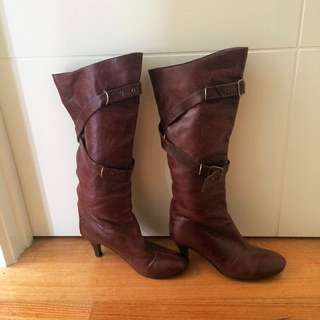 Vintage Leather Boots Size 36