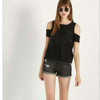 Cotton On Bobbie Cut Out Shoulder Tee In Black (XS)