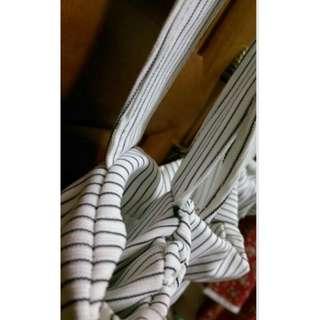 全新 條紋吊帶褲