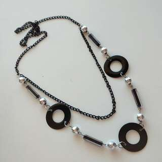 Black & Silver Geometric Shapes Necklace