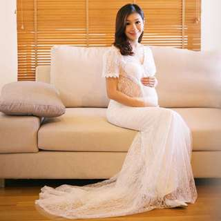 Elegant Lace Gown For Maternity Shoot