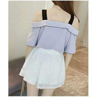 吊帶一字領雪纺上衣+綁帶蝴蝶结蕾絲褲裙 兩件式/套裝