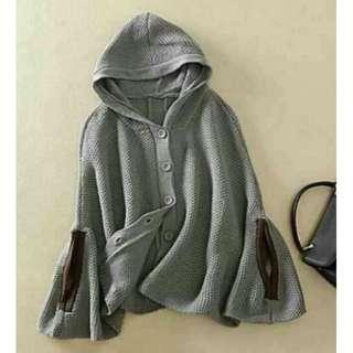 連帽灰色斗篷毛衣針織外套