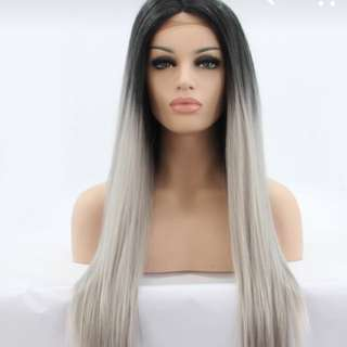 Lace Front Black To Grey Ombré Wig
