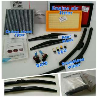 Nissan Engine air Filter,  Cabin Filter, Front & Rear Wiper, armrest console box, visor, bulb, bumper boot lip