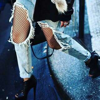 Ripped Jeans + Fishnet Tights [PO]