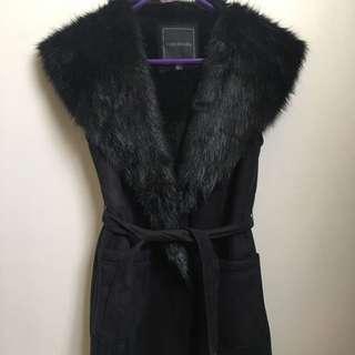 Brand New Forever New Black Fur Blazer Coat