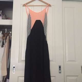 Black And Peach Maxi