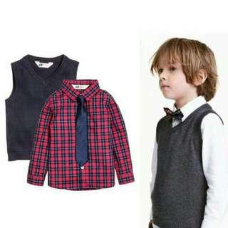 H&M男童襯衫+領帶+背心三件組