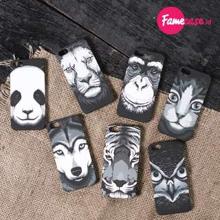 ANIMAL BLACK CASE - Casing Hp iPhone 4, 4s, 5, 5s, 6 GLOW IN THE DARK