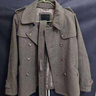 毛呢灰色短版大衣 #轉轉來換物