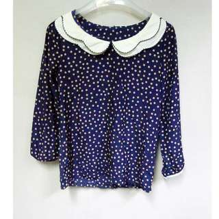 Korean Style Blue Dots blouse